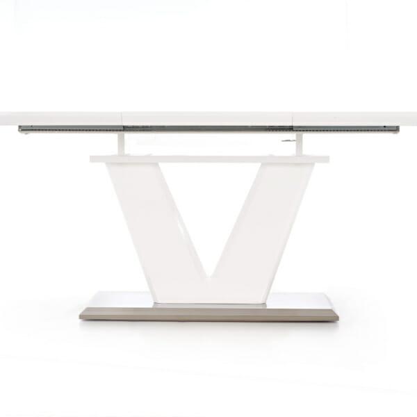 Бяла трапезна маса - разтегната без видим механизъм