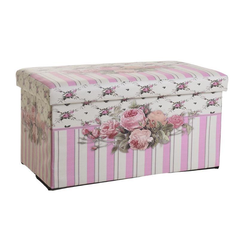 Правоъгълна табуретка кутия в розово