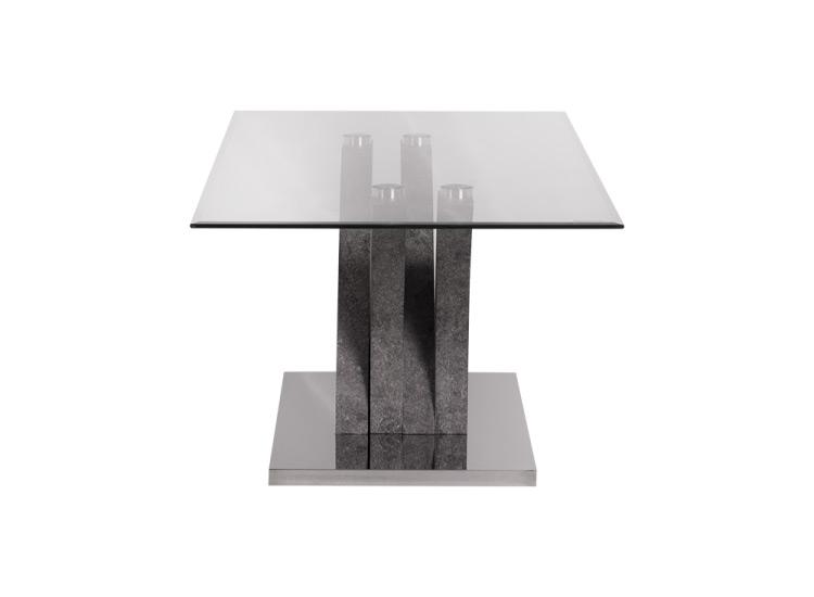 Правоъгълна холна маса със стъклен плот-снимка в профил