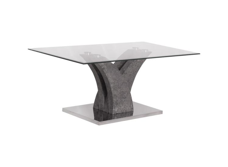 Правоъгълна холна маса със стъклен плот-снимка отстрани