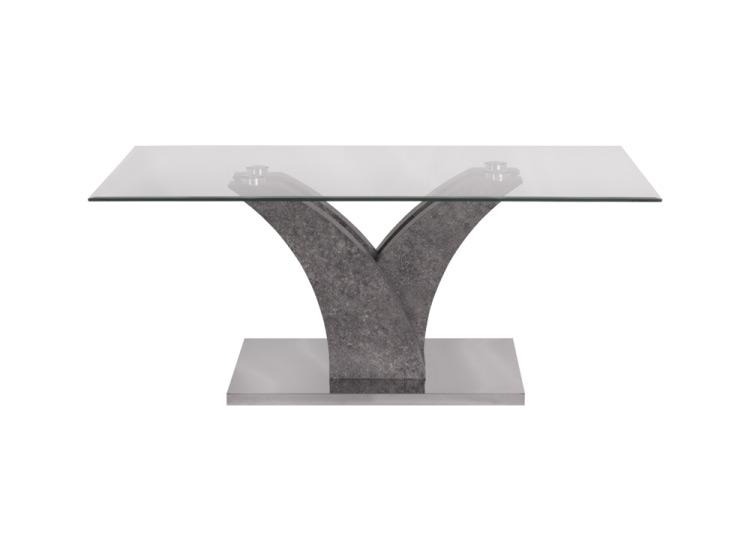 Правоъгълна холна маса със стъклен плот