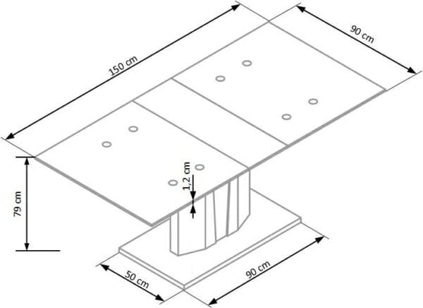 Разтегателна трапезна маса Стило - схема