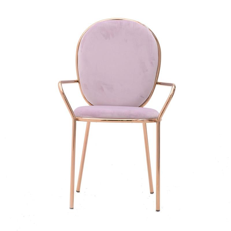 Розов кадифен стол с обла облегалка и подлакътници-отпред