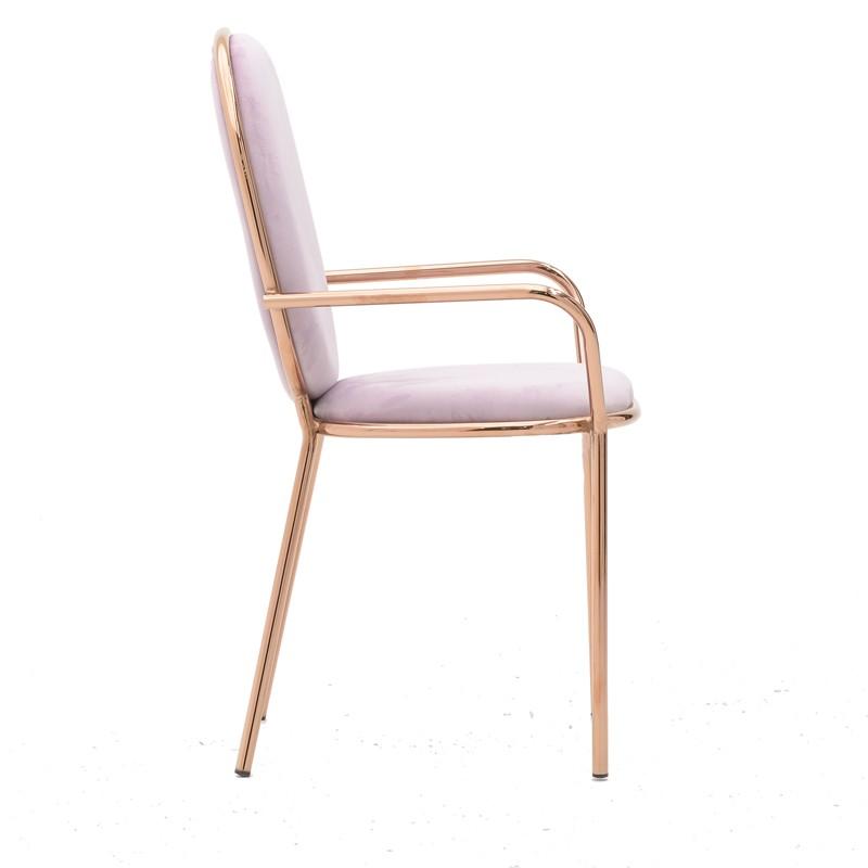 Розов кадифен стол с обла облегалка и подлакътници-снимка отстрани