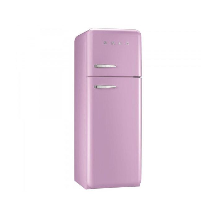 Розов хладилник с горна камера SMEG