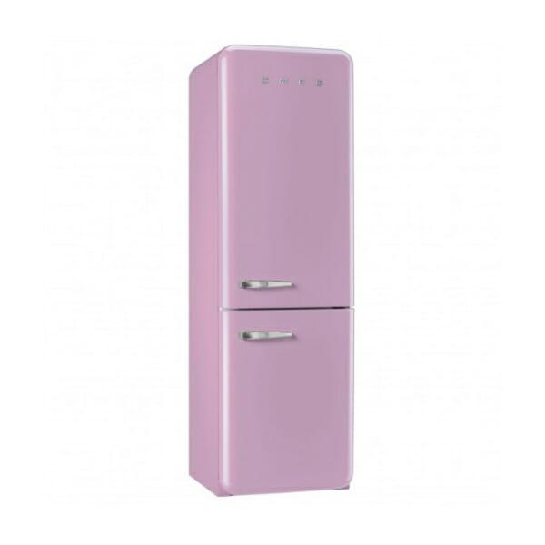 Розов хладилник с фризер SMEG