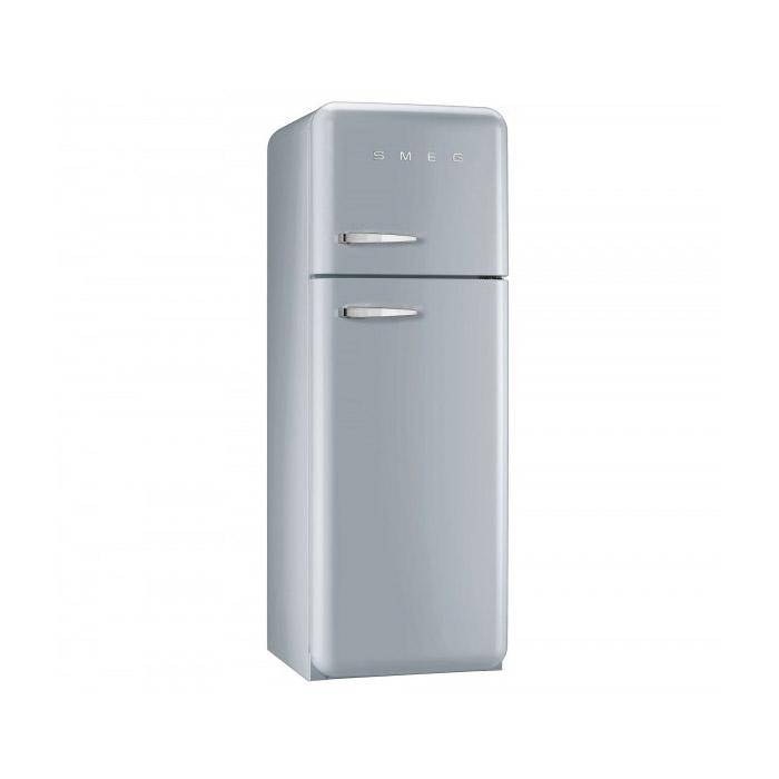 Сив хладилник с горна камера SMEG