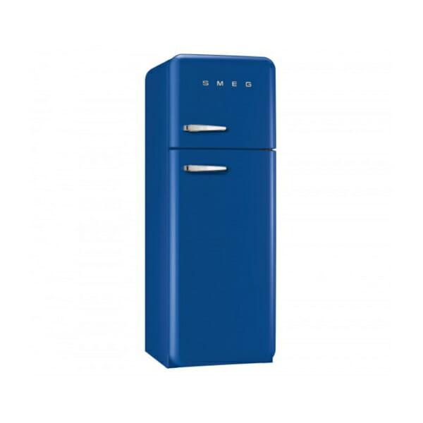 Син хладилник с горна камера SMEG