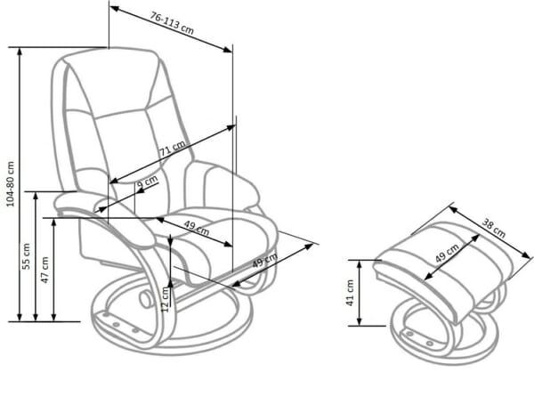 Луксозен стол с табуретка и функция масаж