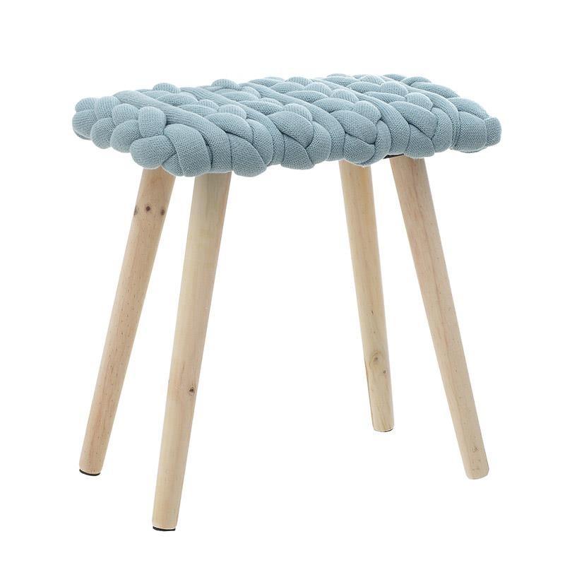Табуретка с плетена седалка и дървени крака (2 цвята)