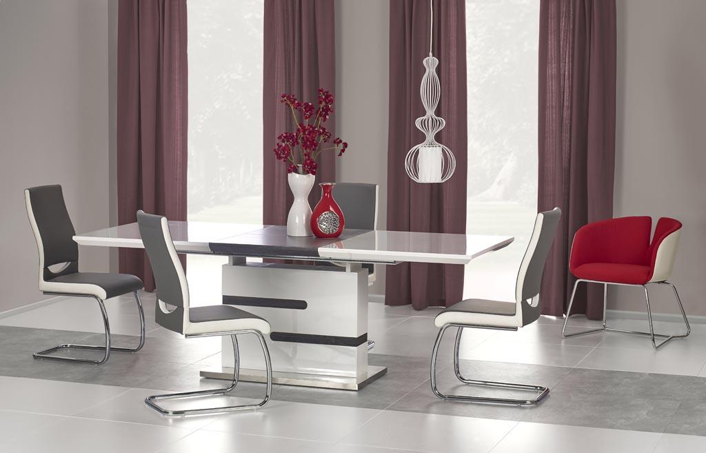 Разтегателна маса в сиво и бяло Монк с 4 стола