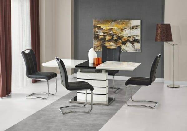 Маса в черно и бяло Нора с 4 стола