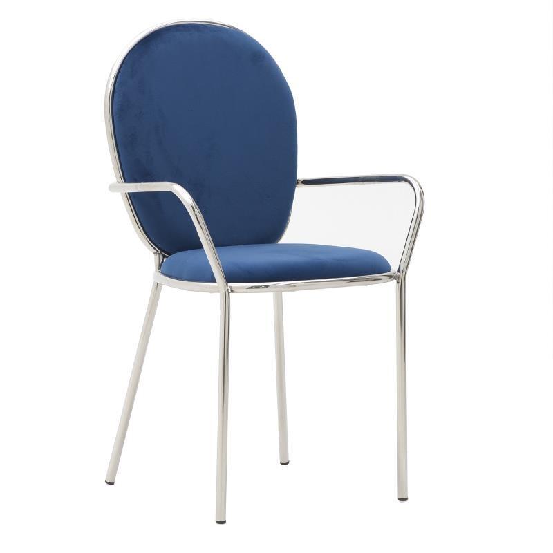 Тъмно син кадифен стол с обла облегалка и подлакътници