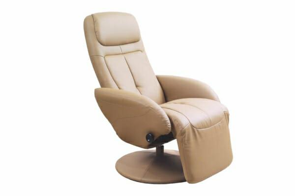 Удобен бежов релакс стол от еко кожа