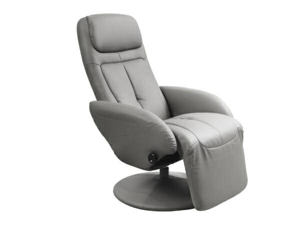 Удобен сив релакс стол от еко кожа