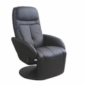Удобен черен релакс стол от еко кожа