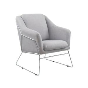 Удобно кресло със сива дамаска