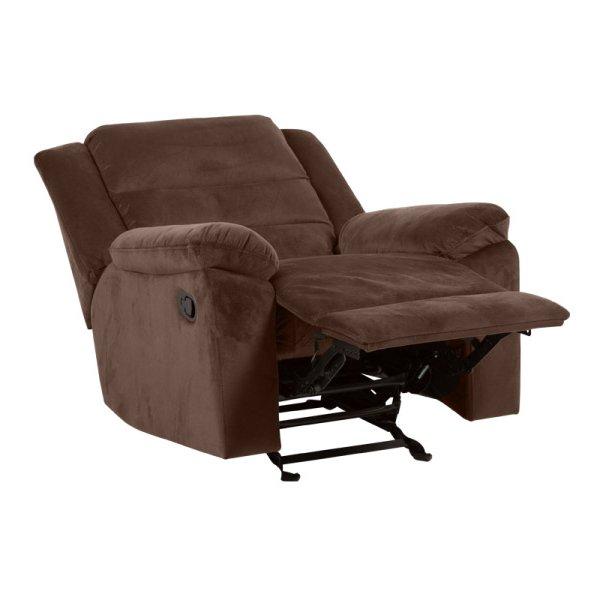 Тъмнокафяв фотьойл с дамаска в тъмен цвят и релакс механизъм-снимка отстрани