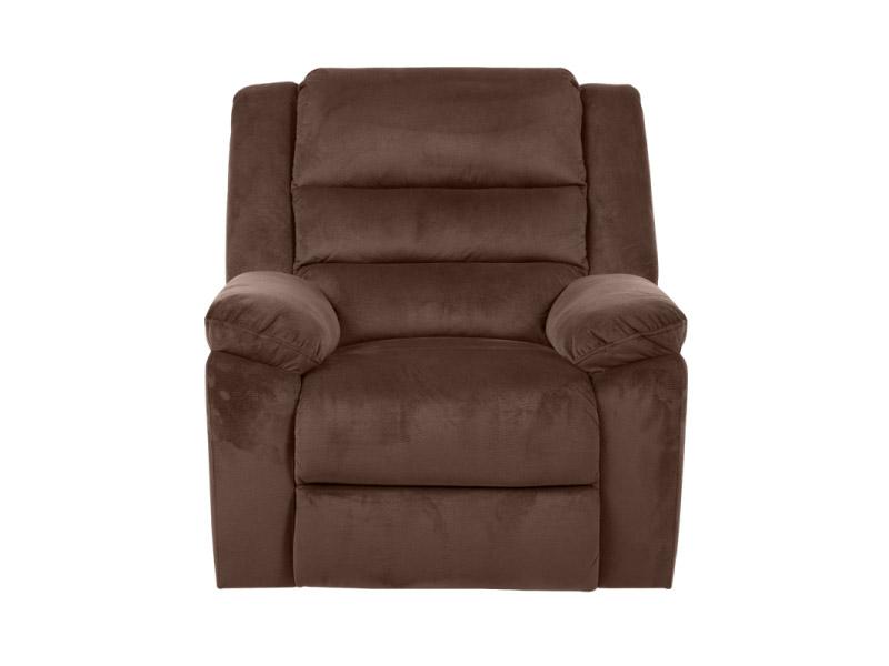 Тъмнокафяв фотьойл с дамаска в тъмен цвят и релакс механизъм-снимка отпред