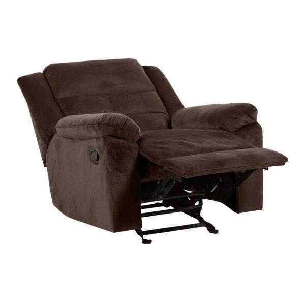 Фотьойл с дамаска в тъмен цвят и релакс механизъм - цвят шоколад-странично