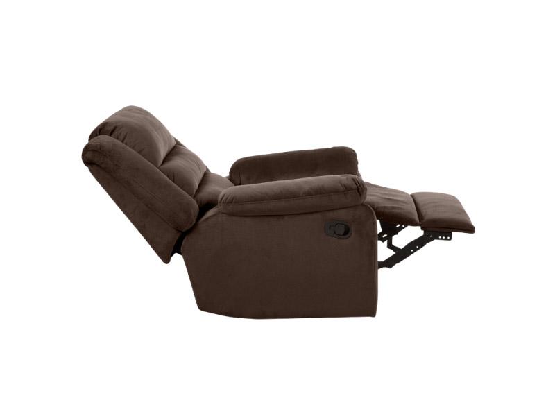 Фотьойл с дамаска в тъмен цвят и релакс механизъм - цвят шоколад-снимка отстрани