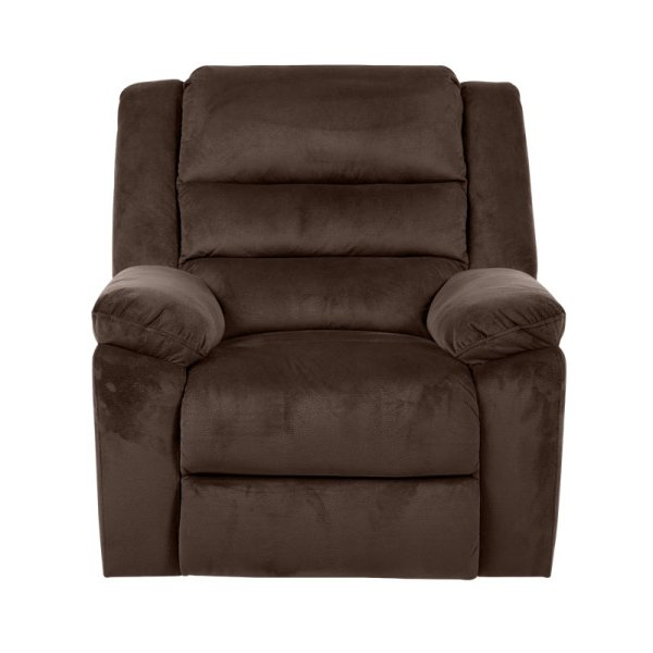 Фотьойл с дамаска в тъмен цвят и релакс механизъм - цвят шоколад, снимка отпред