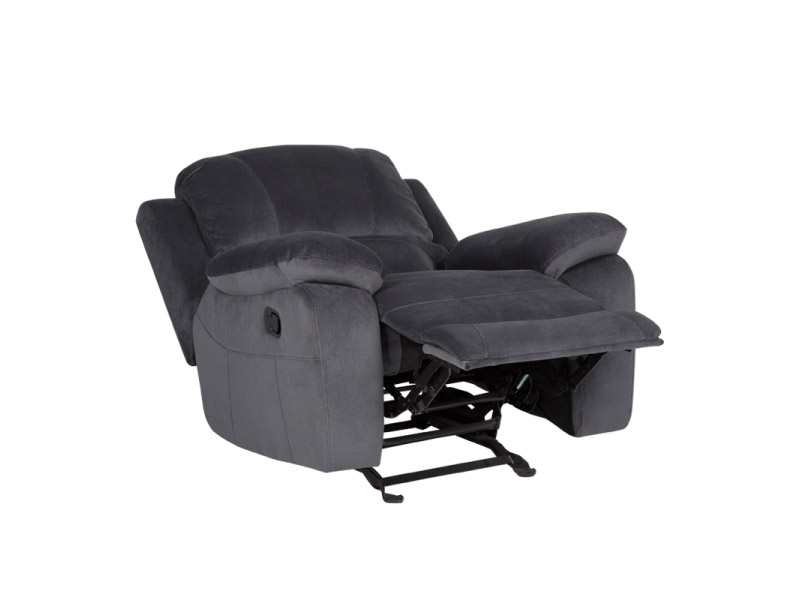 Тъмносив фотьойл с люлееща функция и релакс механизъм Гея-странично