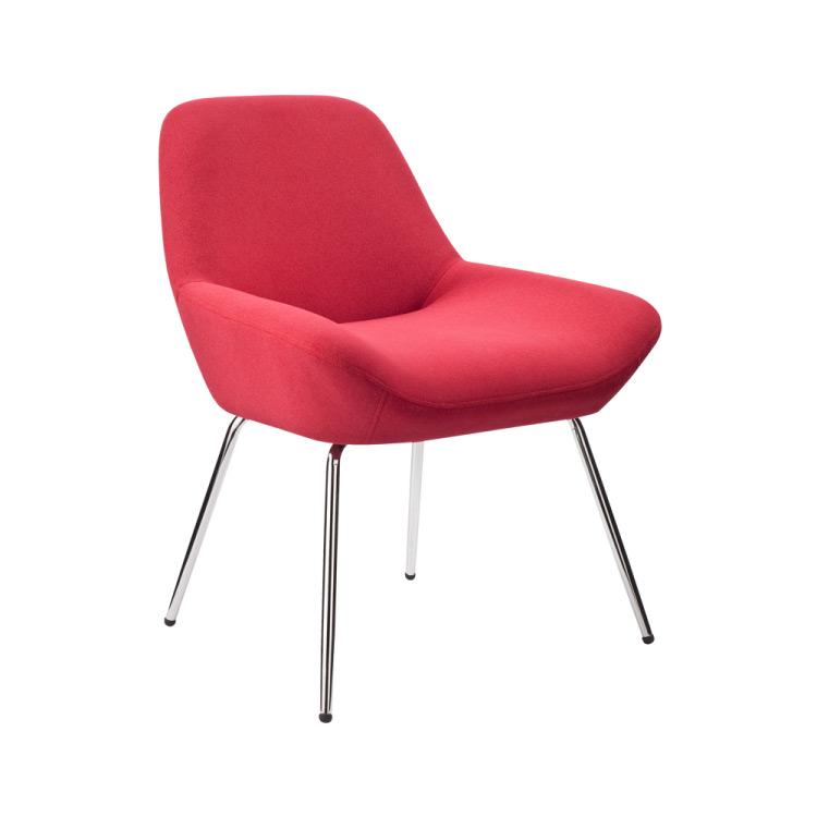 Червен нисък бар стол-снимка отдясно
