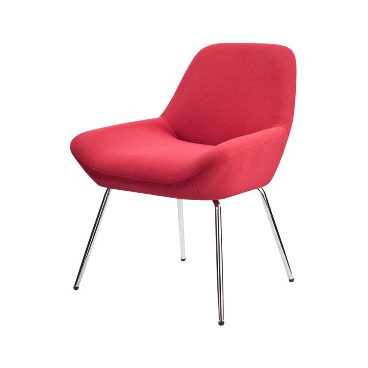 Червен нисък бар стол-снимка отляво