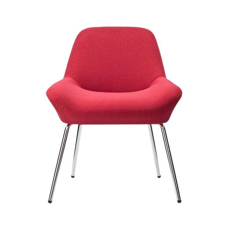 Червен нисък бар стол-снимка отпред