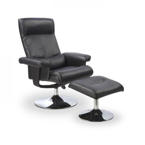 Черен релакс стол от еко кожа с табуретка за крака