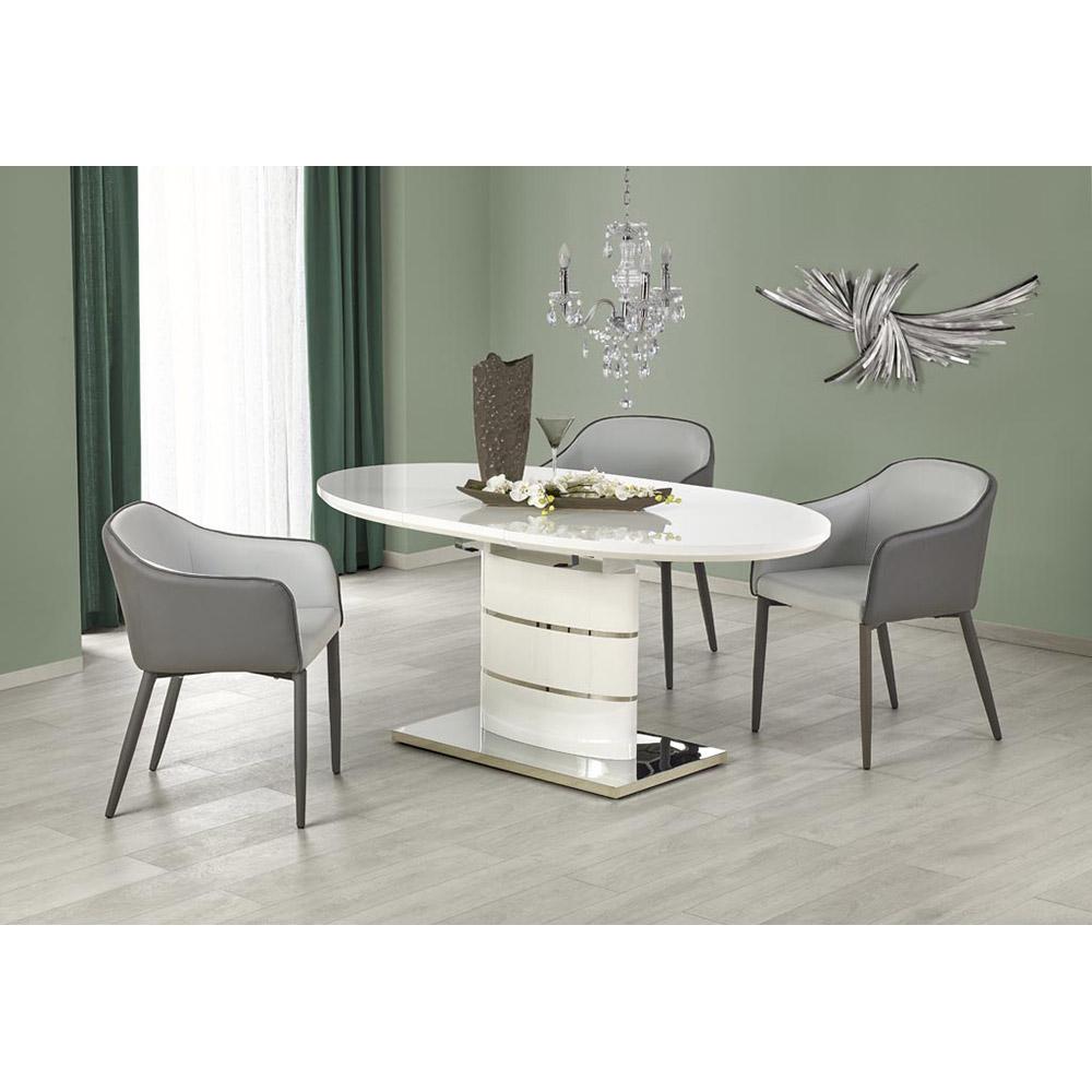 Бяла трапезна маса Аспенито с кожени столове