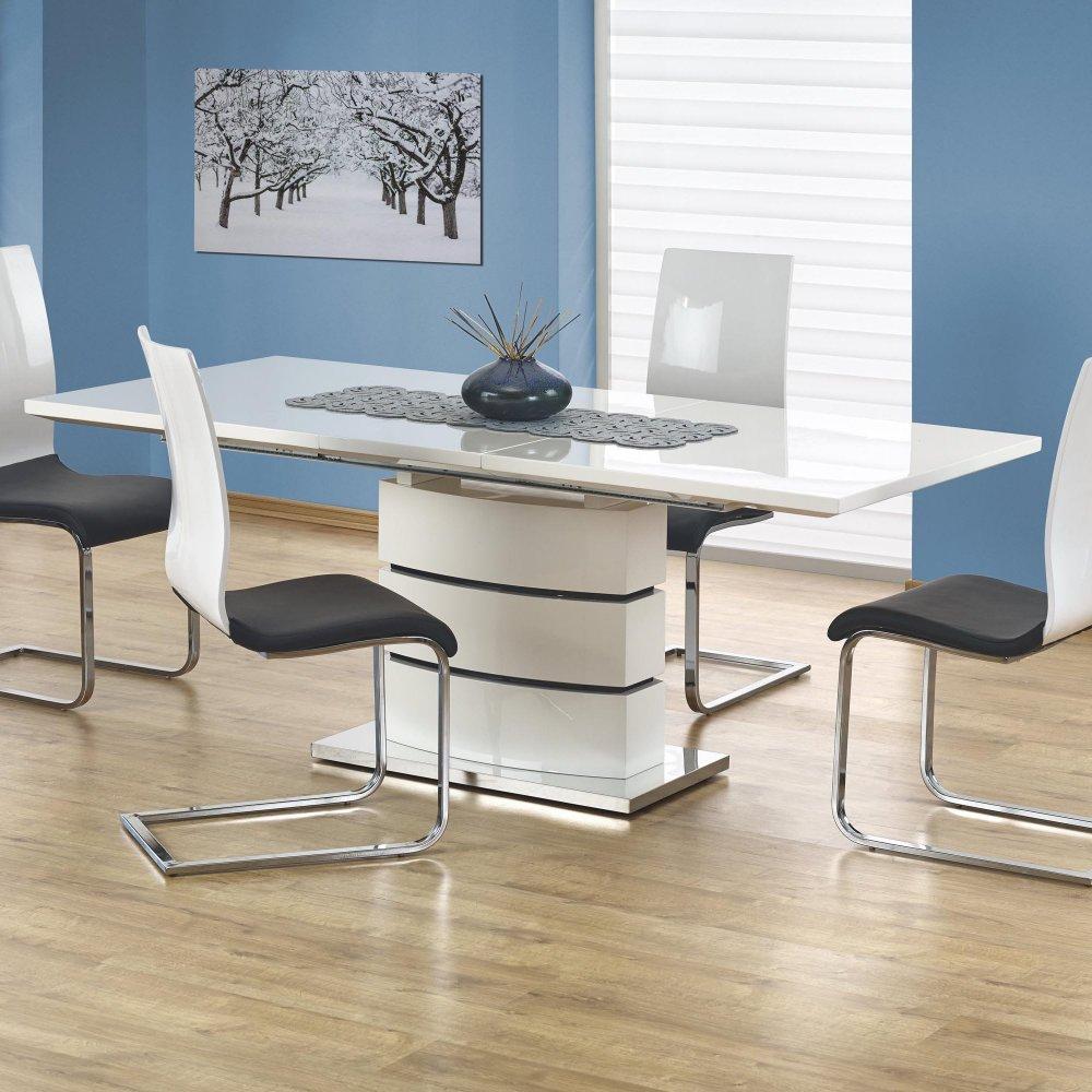 Разтегателна трапезна маса в бяло Стил - със столове