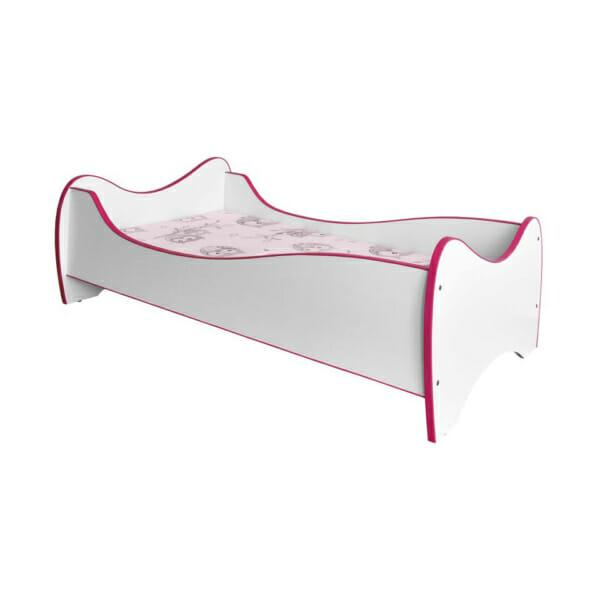 Бяло детско легло с матрак - розови ръбове