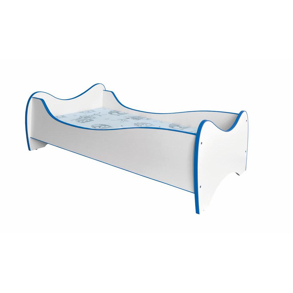 Бяло детско легло с матрак - сини ръбове