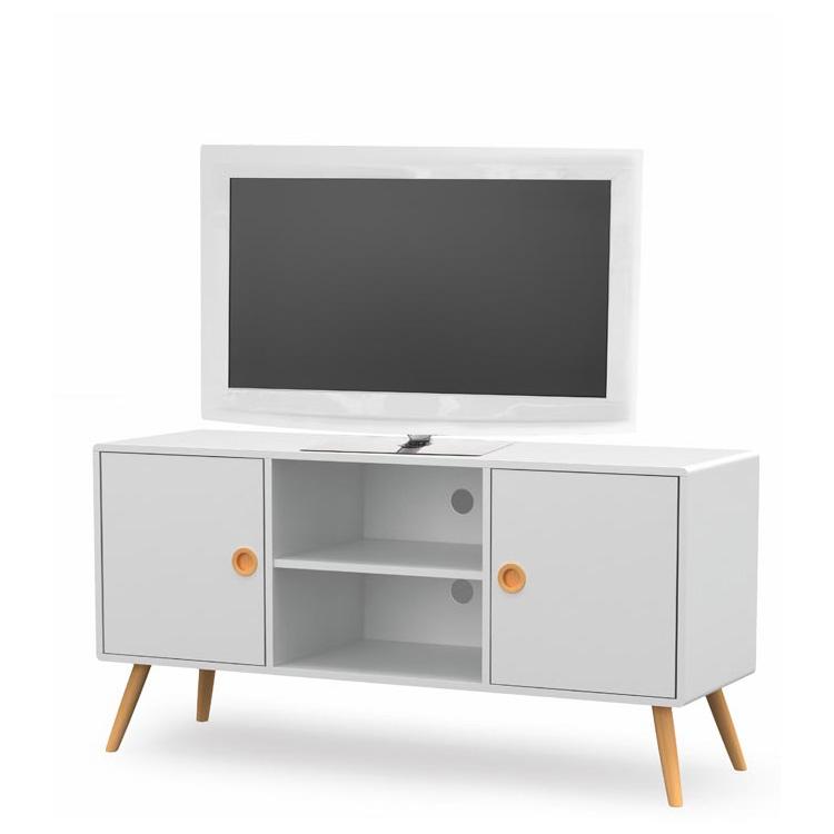 Бял ТВ шкаф с вратички и рафтове Момо