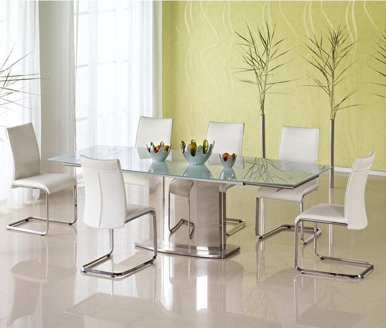 Голяма трапезна маса от стъкло и стомана