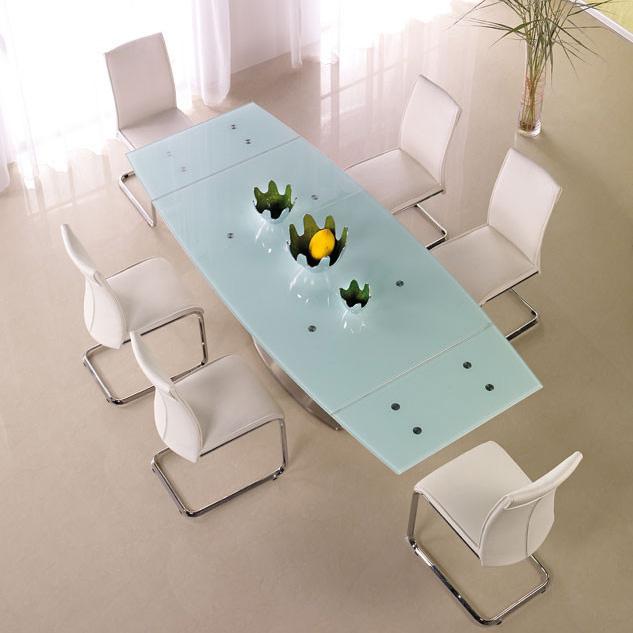 Голяма трапезна маса от стъкло и стомана с 6 стола
