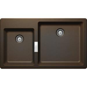 Двойна мивка за кухня в тъмен цвят SCHOCK Signus N175