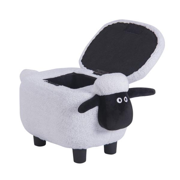 Детска табуретка във формата на овца - снимка с отворена ракла
