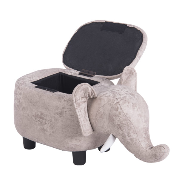 Детска табуретка във формата на слонче - снимка с отворена ракла