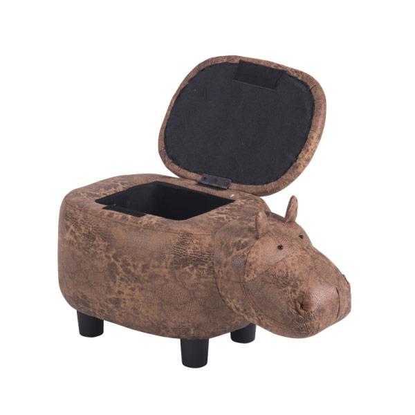 Детска табуретка във формата на хипопотам с отворена ракла