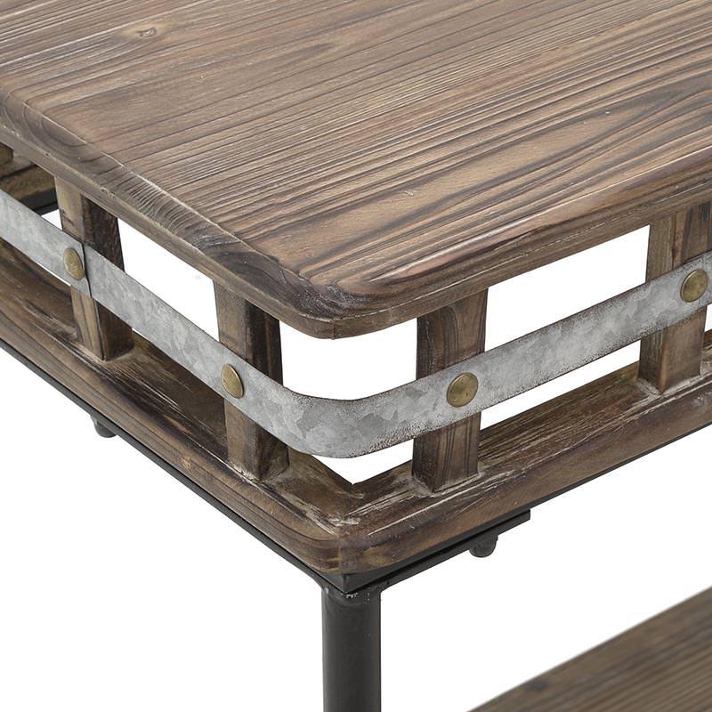 Дървена конзола с два плота и метални акценти