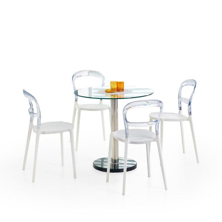 Малка кръгла маса със стъклен плот