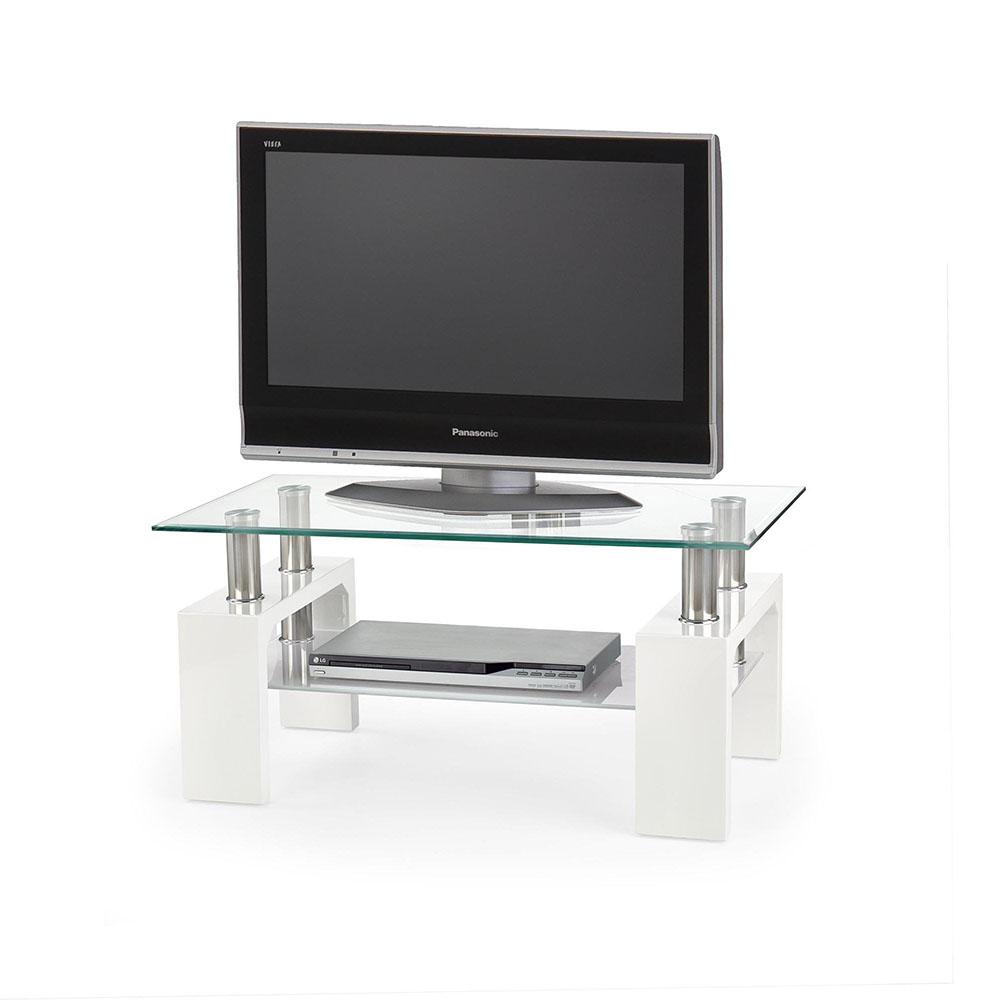 Малка ТВ поставка със стъклен плот в бяло