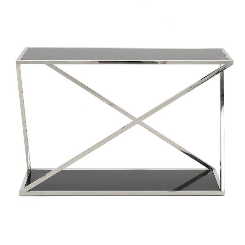 Модерна конзола от черно стъкло и стомана - отпред