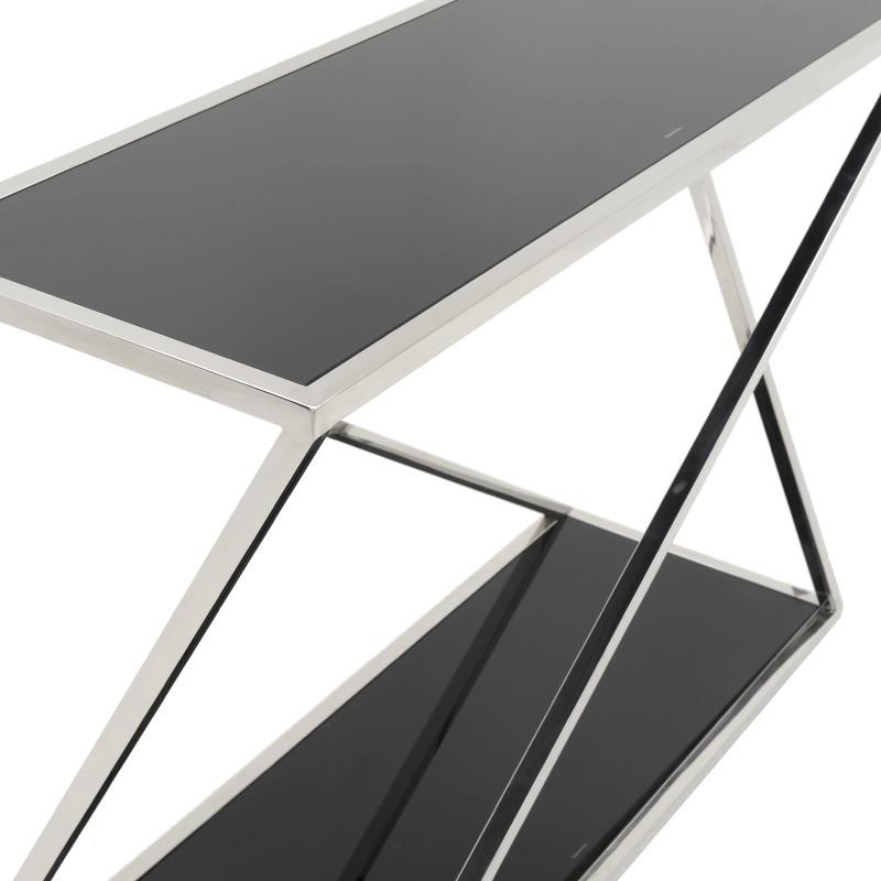 Модерна конзола от черно стъкло и стомана