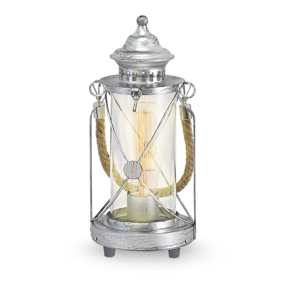 Настолна лампа с дизайн като фенер серия BRADFORD в цвят антично сребро