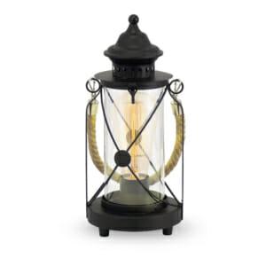 Настолна лампа с дизайн като фенер серия BRADFORD в черен цвят