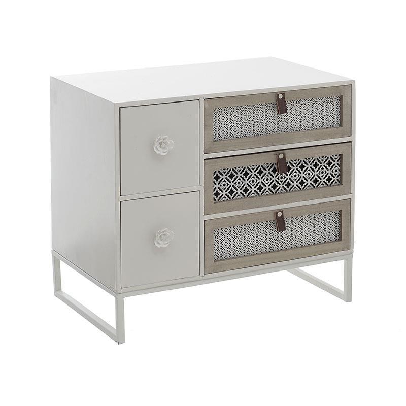 Нисък бял шкаф с 5 чекмеджета